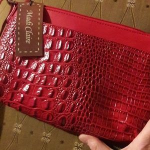 NWT❤ Madi Claire Croco Embossed Leather Crossbody